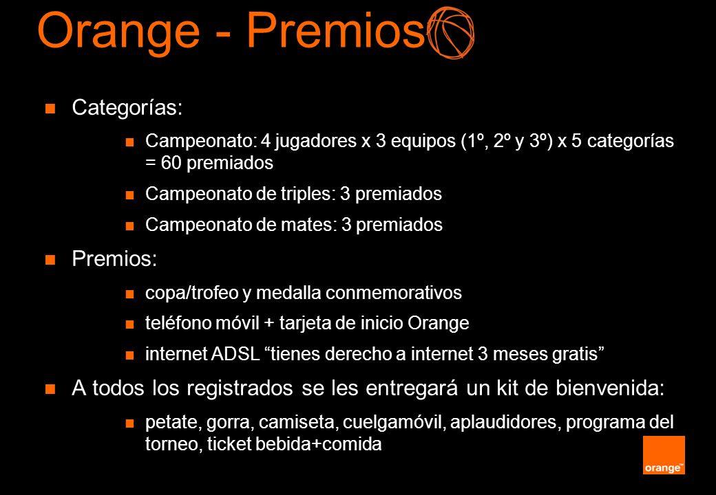 Orange - Premios Categorías: Premios: