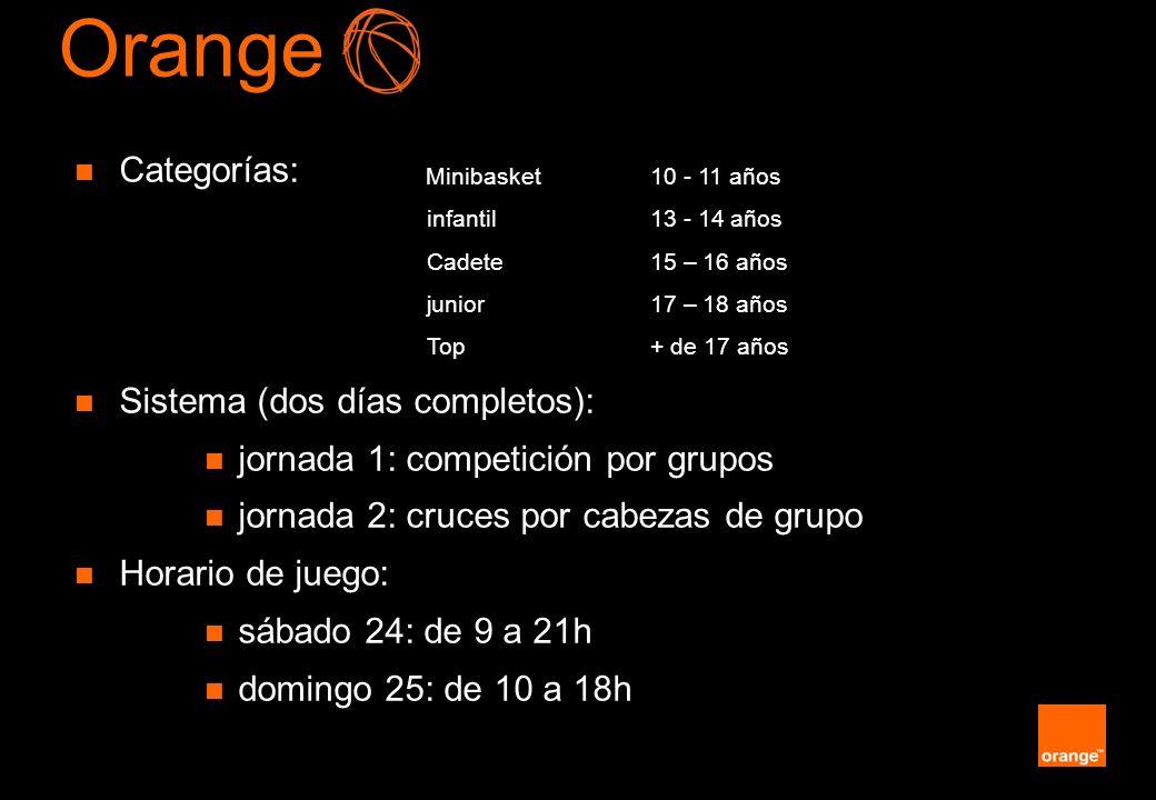 Orange Categorías: Sistema (dos días completos):