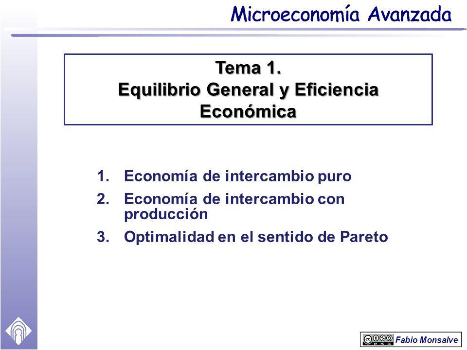 Tema 1. Equilibrio General y Eficiencia Económica