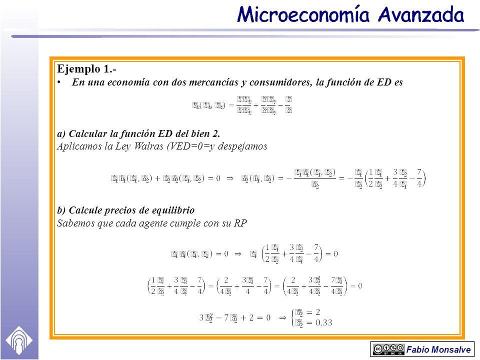 Ejemplo 1.- En una economía con dos mercancías y consumidores, la función de ED es. a) Calcular la función ED del bien 2.