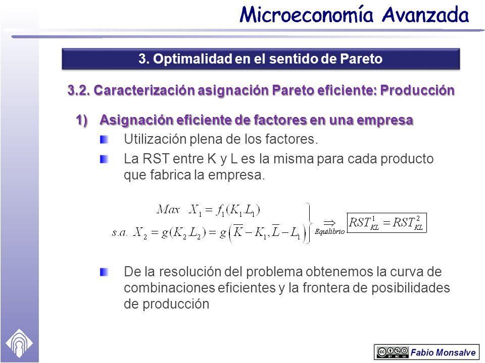 3.2. Caracterización asignación Pareto eficiente: Producción
