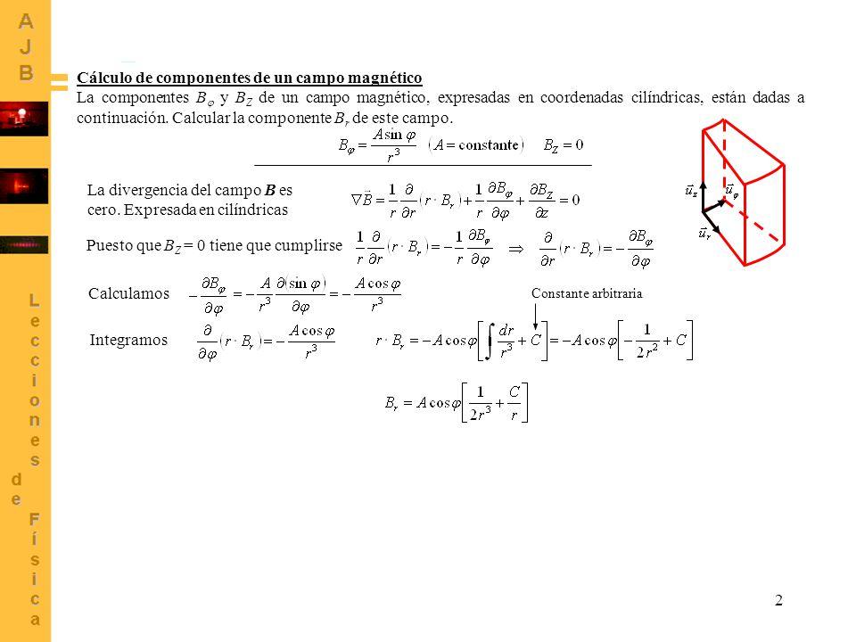 Cálculo de componentes de un campo magnético