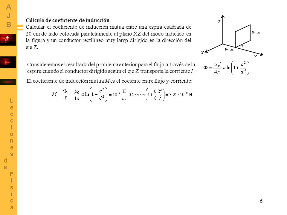 Cálculo de coeficiente de inducción