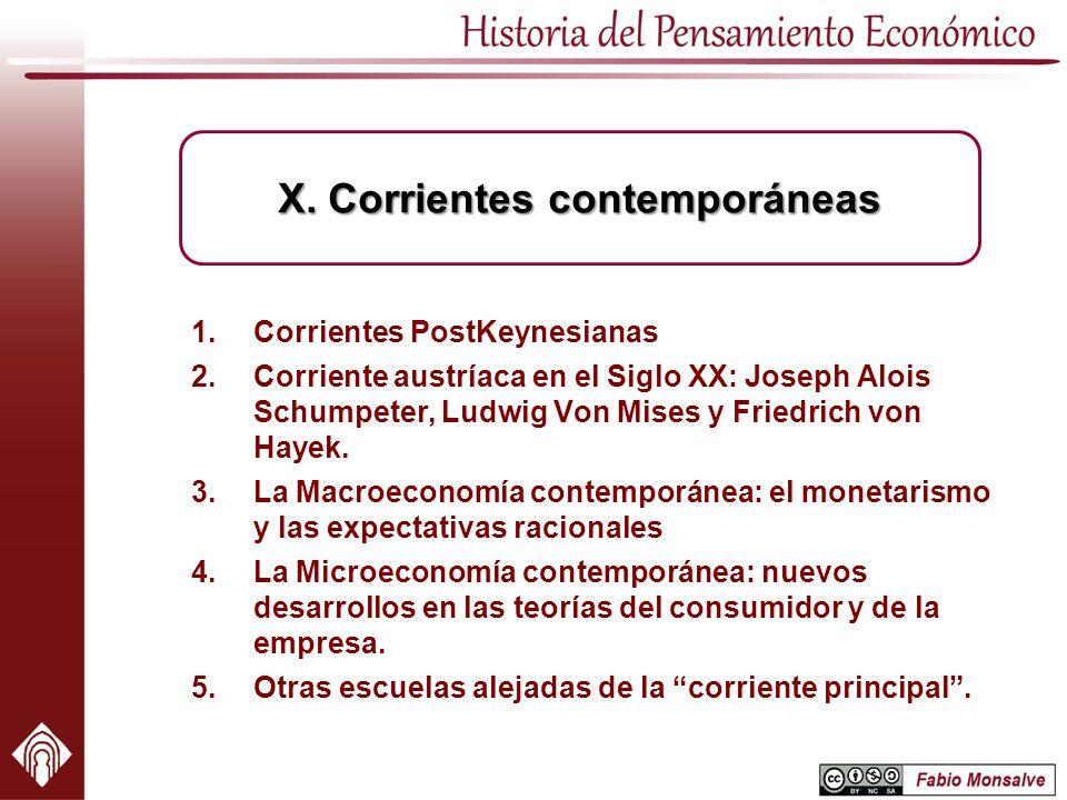 X. Corrientes contemporáneas
