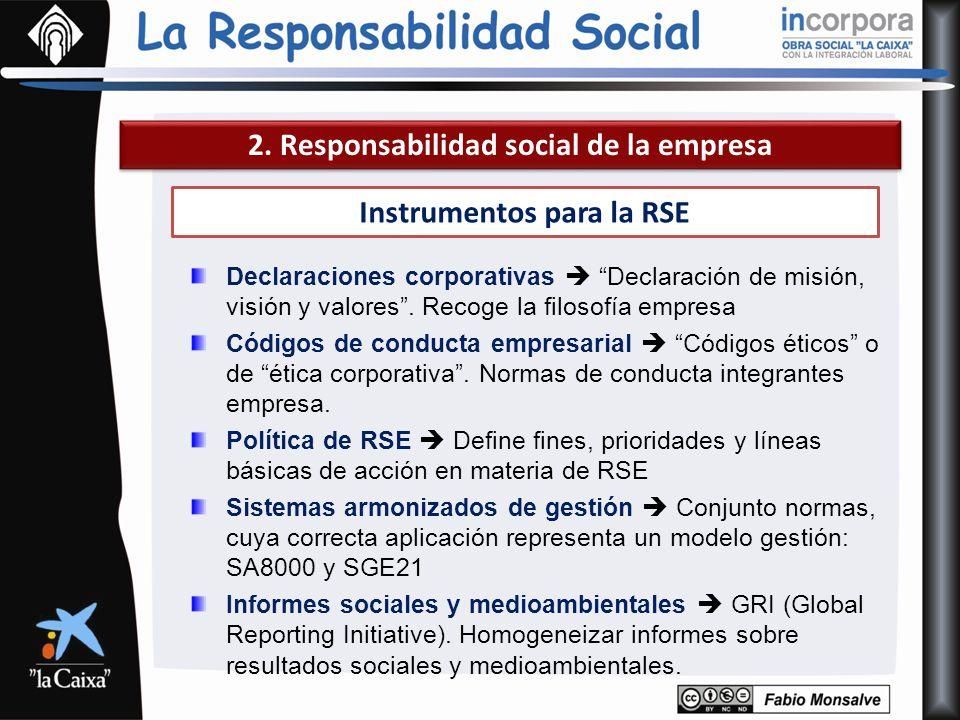 2. Responsabilidad social de la empresa Instrumentos para la RSE