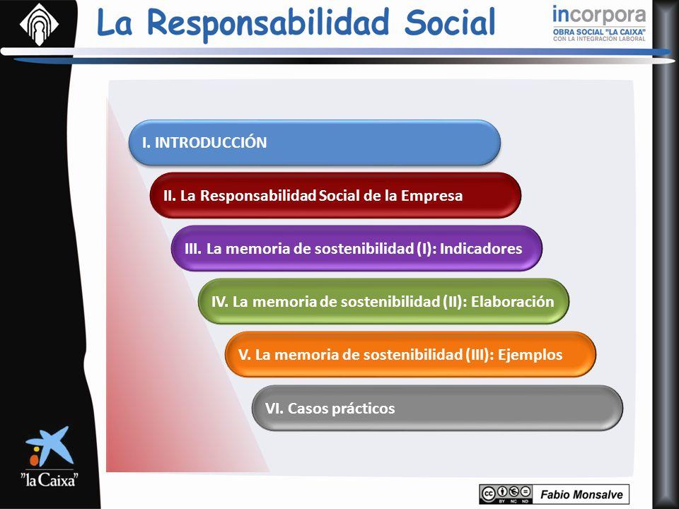 I. INTRODUCCIÓN II. La Responsabilidad Social de la Empresa. III. La memoria de sostenibilidad (I): Indicadores.