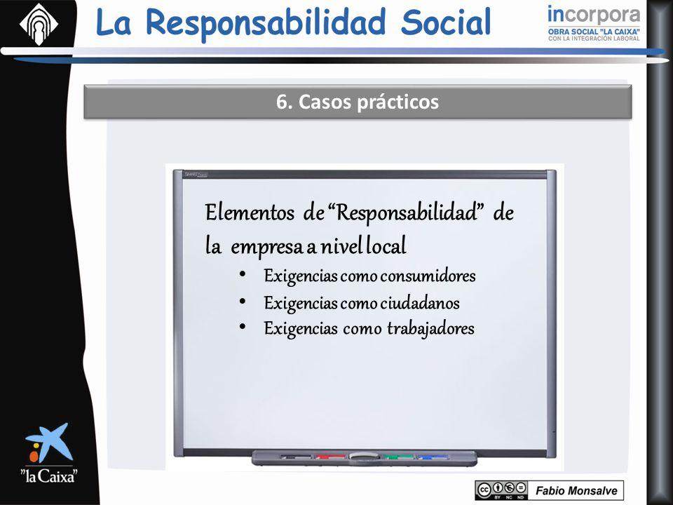 Elementos de Responsabilidad de la empresa a nivel local