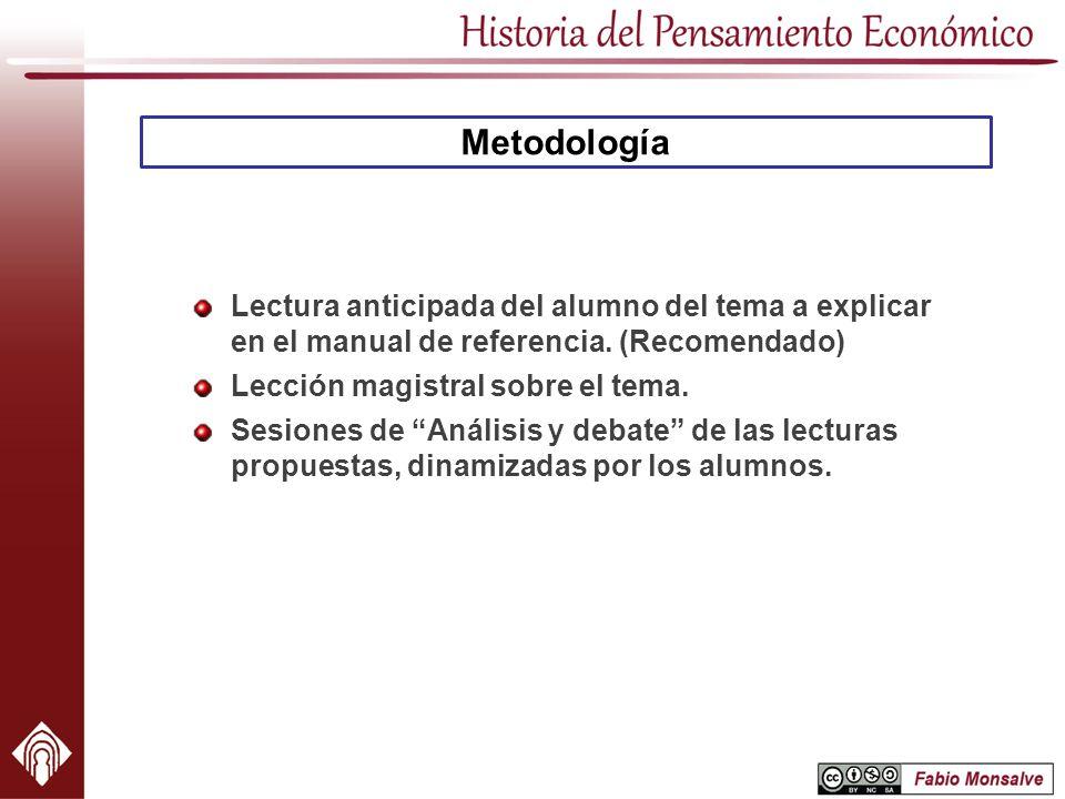Metodología Lectura anticipada del alumno del tema a explicar en el manual de referencia. (Recomendado)