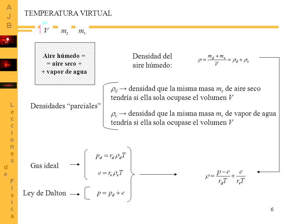 d → densidad que la misma masa ms de aire seco