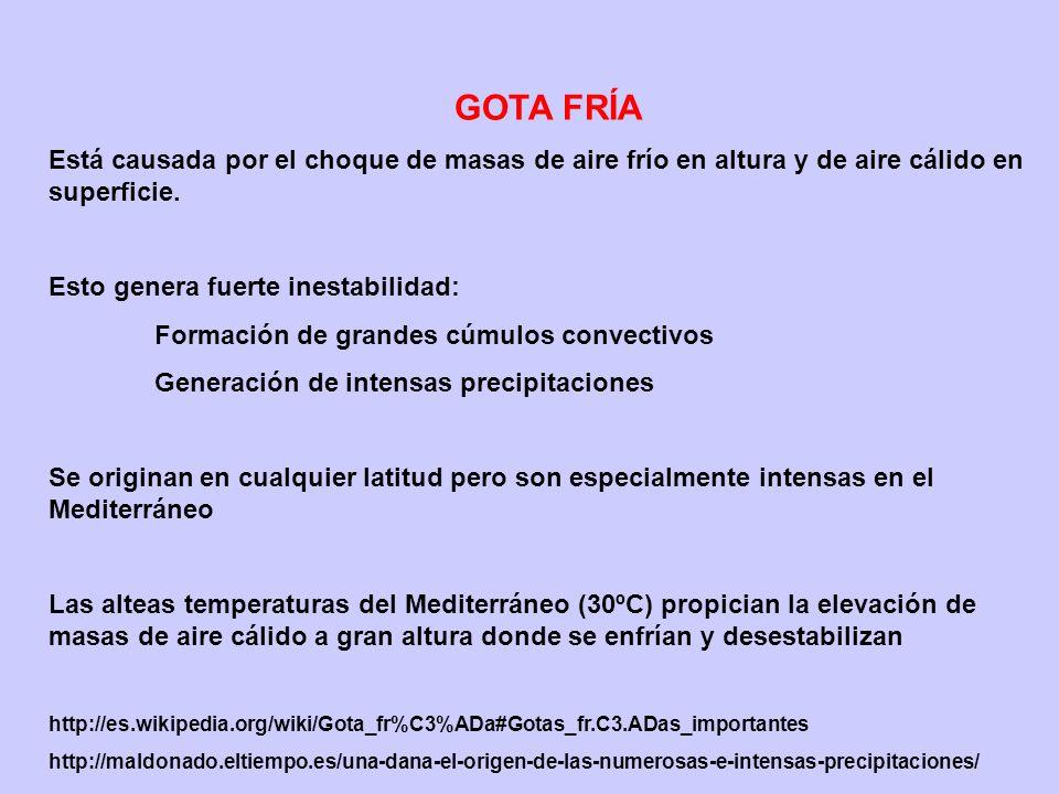 GOTA FRÍA Está causada por el choque de masas de aire frío en altura y de aire cálido en superficie.