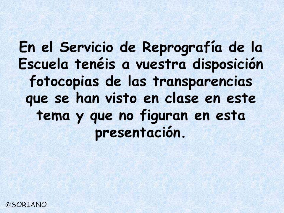 En el Servicio de Reprografía de la Escuela tenéis a vuestra disposición fotocopias de las transparencias que se han visto en clase en este tema y que no figuran en esta presentación.