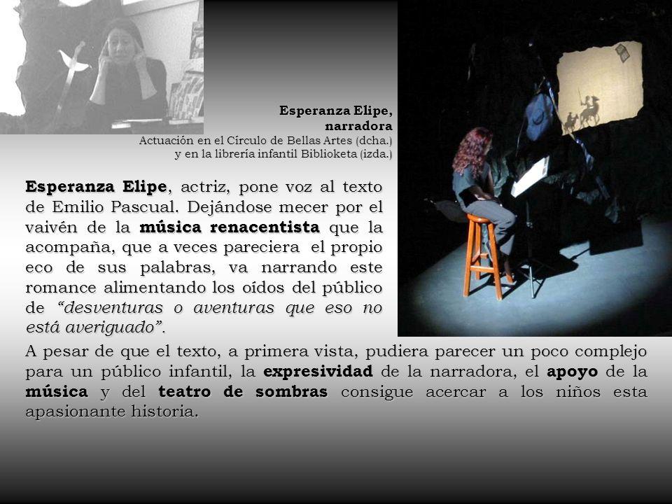 Esperanza Elipe, narradora. Actuación en el Círculo de Bellas Artes (dcha.) y en la librería infantil Biblioketa (izda.)