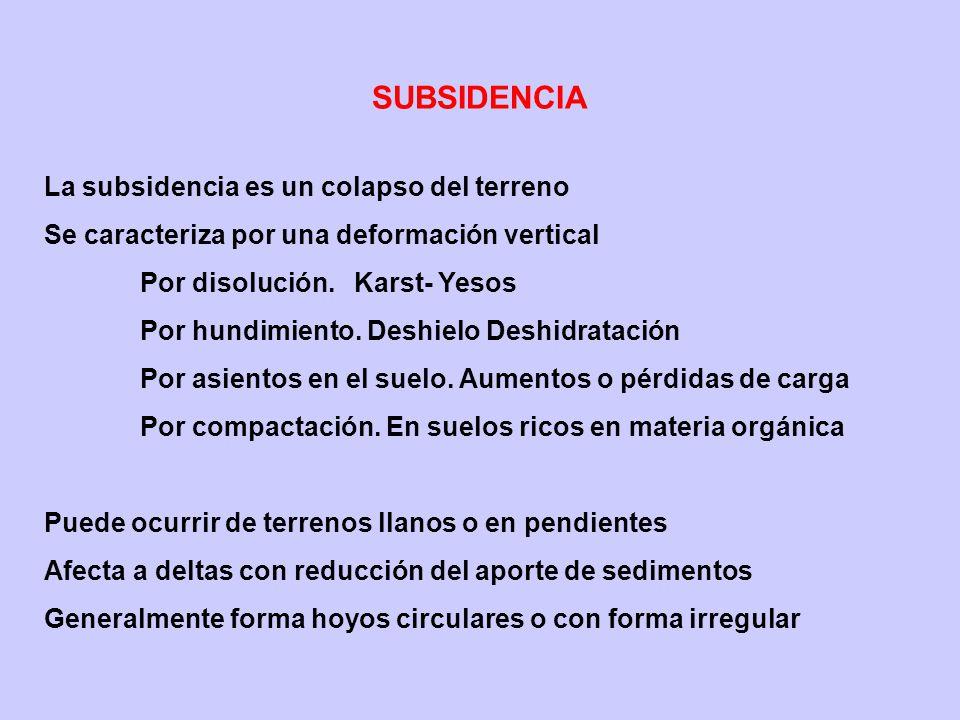SUBSIDENCIA La subsidencia es un colapso del terreno