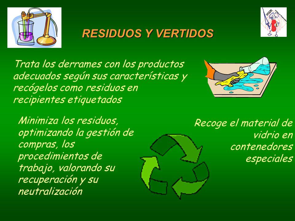 RESIDUOS Y VERTIDOS Trata los derrames con los productos adecuados según sus características y recógelos como residuos en recipientes etiquetados.