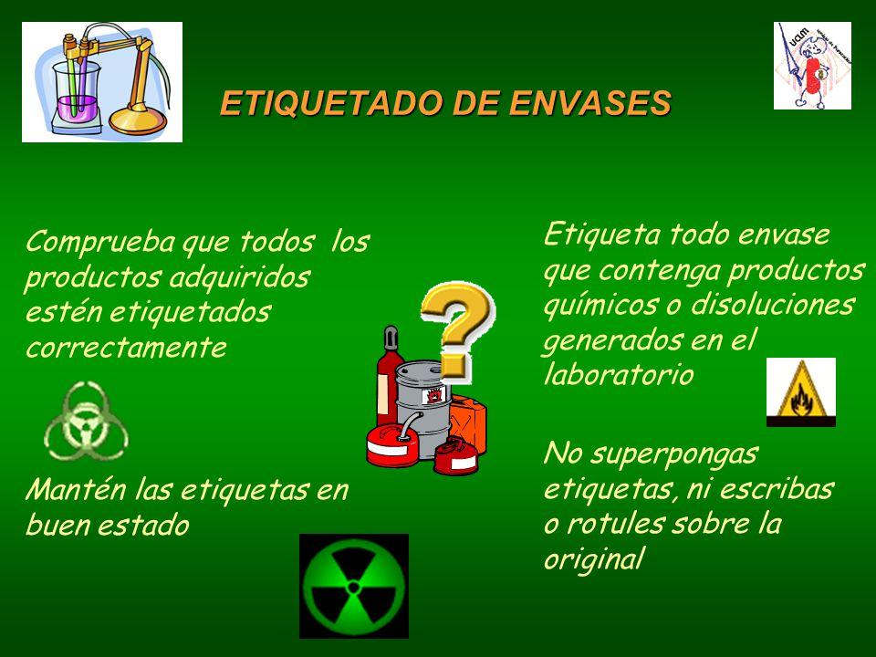 ETIQUETADO DE ENVASES Etiqueta todo envase que contenga productos químicos o disoluciones generados en el laboratorio.
