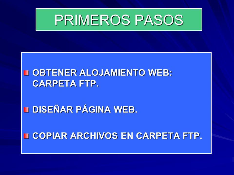 PRIMEROS PASOS OBTENER ALOJAMIENTO WEB: CARPETA FTP.