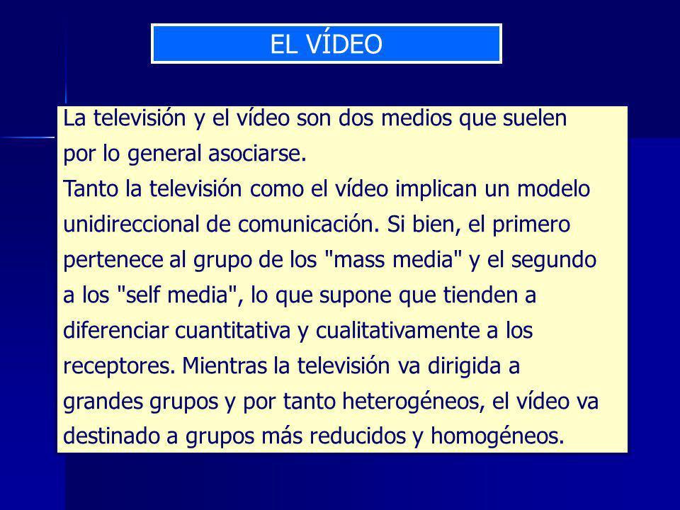 EL VÍDEO La televisión y el vídeo son dos medios que suelen