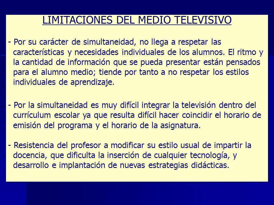 LIMITACIONES DEL MEDIO TELEVISIVO
