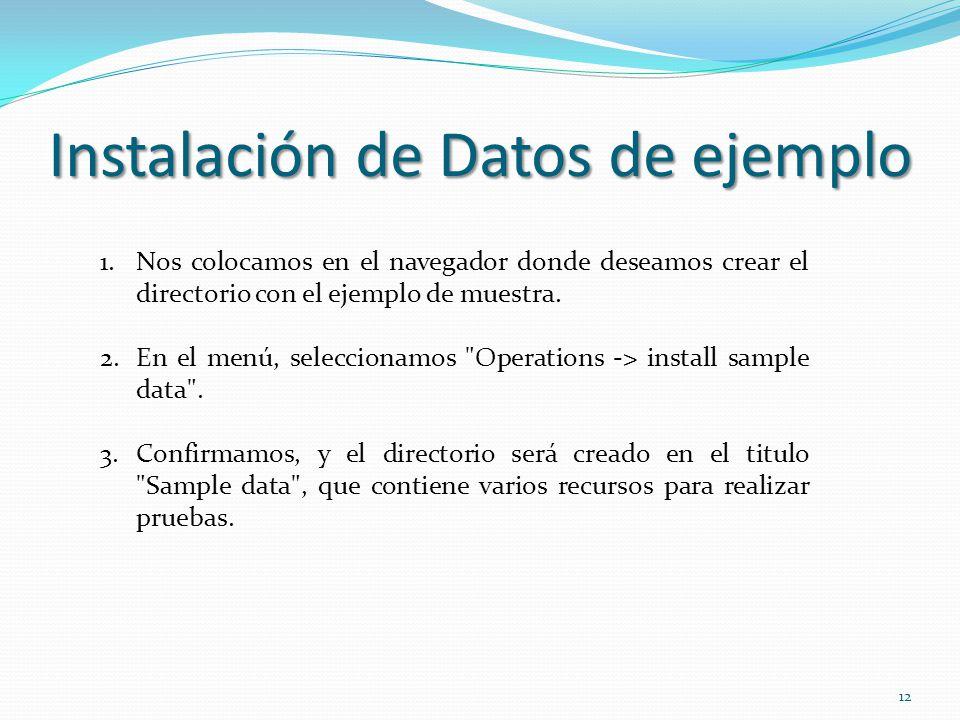 Instalación de Datos de ejemplo