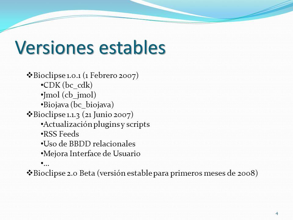 Versiones estables Bioclipse 1.0.1 (1 Febrero 2007) CDK (bc_cdk)