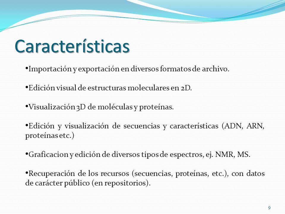 Características Importación y exportación en diversos formatos de archivo. Edición visual de estructuras moleculares en 2D.