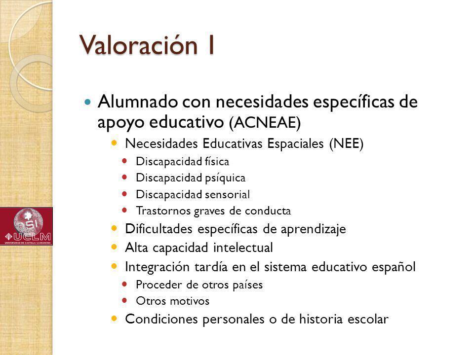 Valoración I Alumnado con necesidades específicas de apoyo educativo (ACNEAE) Necesidades Educativas Espaciales (NEE)