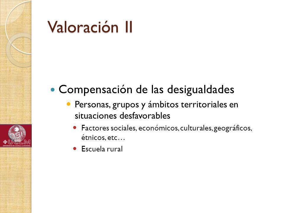 Valoración II Compensación de las desigualdades