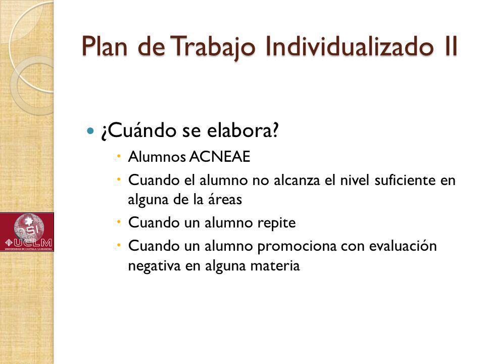 Plan de Trabajo Individualizado II