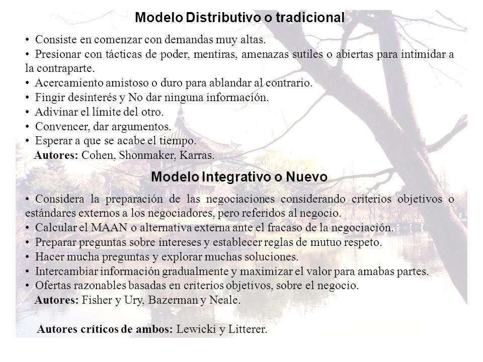 Modelo Distributivo o tradicional Modelo Integrativo o Nuevo