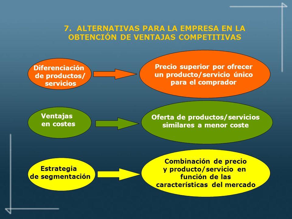 7. ALTERNATIVAS PARA LA EMPRESA EN LA OBTENCIÓN DE VENTAJAS COMPETITIVAS