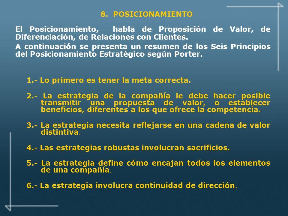 8. POSICIONAMIENTO El Posicionamiento, habla de Proposición de Valor, de Diferenciación, de Relaciones con Clientes.