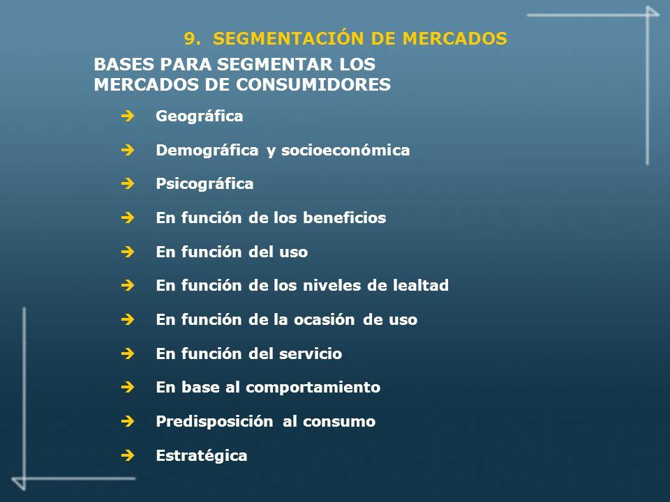BASES PARA SEGMENTAR LOS MERCADOS DE CONSUMIDORES
