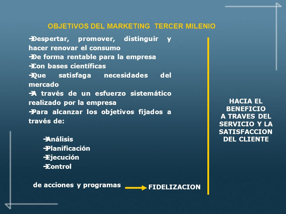 OBJETIVOS DEL MARKETING TERCER MILENIO