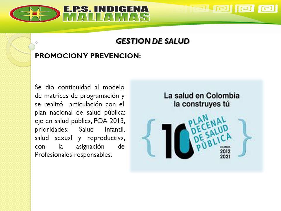 GESTION DE SALUD PROMOCION Y PREVENCION: