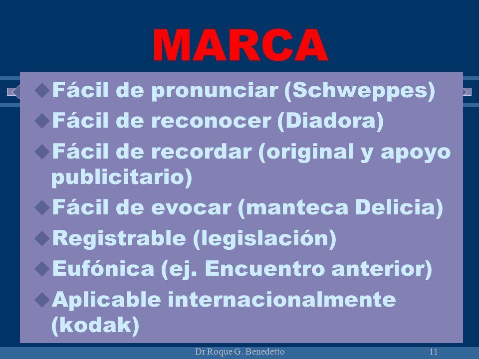 MARCA Fácil de pronunciar (Schweppes) Fácil de reconocer (Diadora)