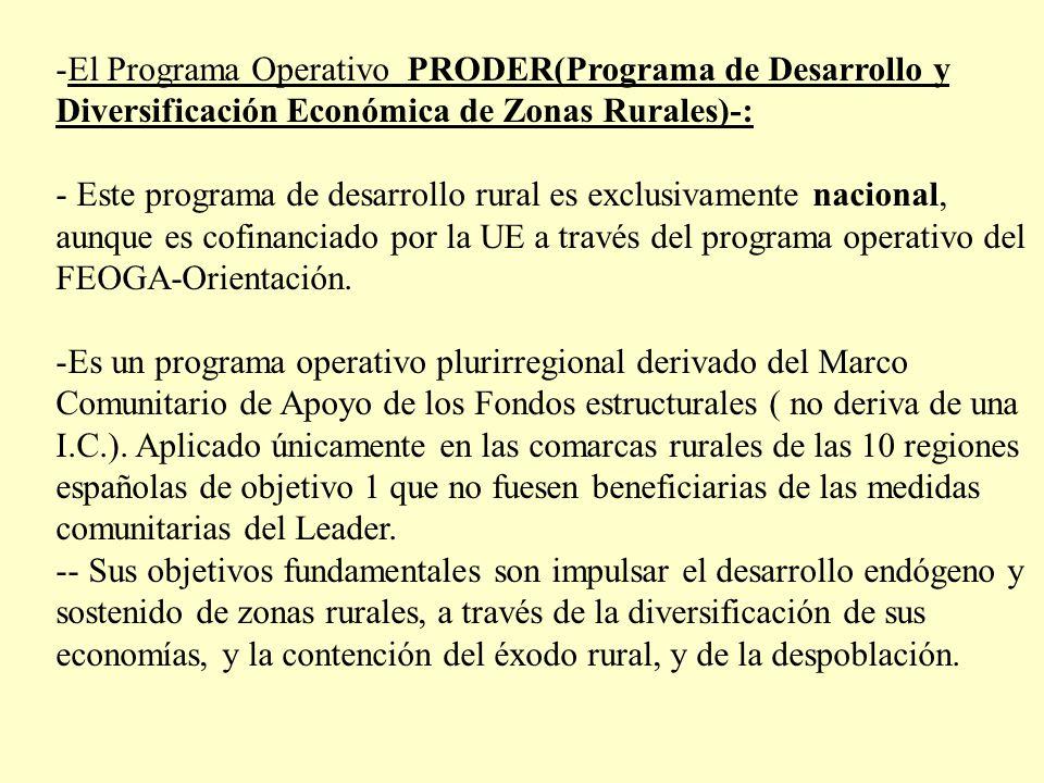 El Programa Operativo PRODER(Programa de Desarrollo y Diversificación Económica de Zonas Rurales)-: