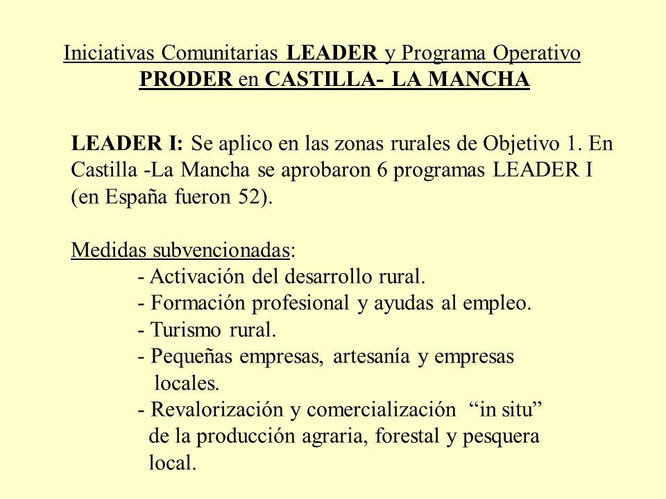 Iniciativas Comunitarias LEADER y Programa Operativo PRODER en CASTILLA- LA MANCHA