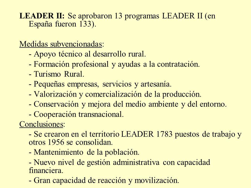 LEADER II: Se aprobaron 13 programas LEADER II (en España fueron 133).
