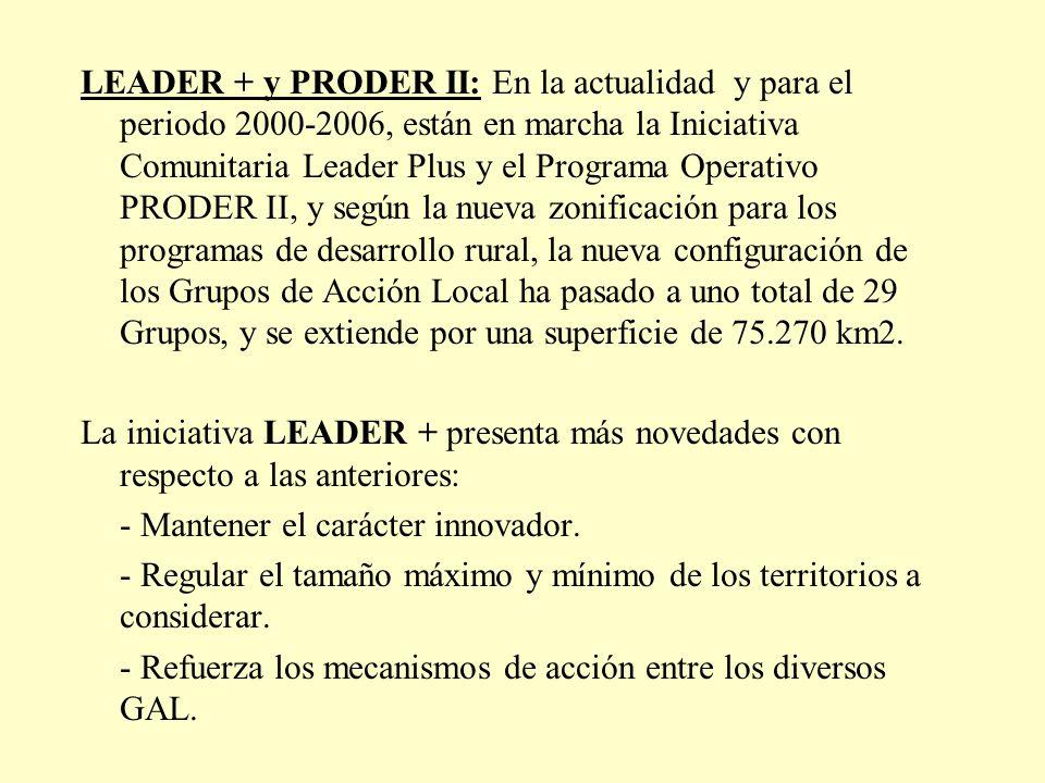 LEADER + y PRODER II: En la actualidad y para el periodo 2000-2006, están en marcha la Iniciativa Comunitaria Leader Plus y el Programa Operativo PRODER II, y según la nueva zonificación para los programas de desarrollo rural, la nueva configuración de los Grupos de Acción Local ha pasado a uno total de 29 Grupos, y se extiende por una superficie de 75.270 km2.