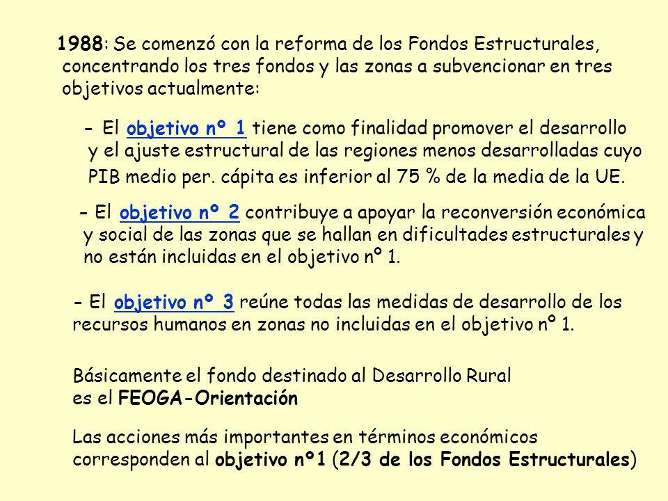1988: Se comenzó con la reforma de los Fondos Estructurales,