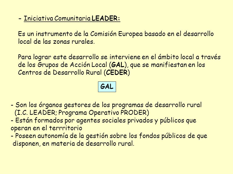 - Iniciativa Comunitaria LEADER:
