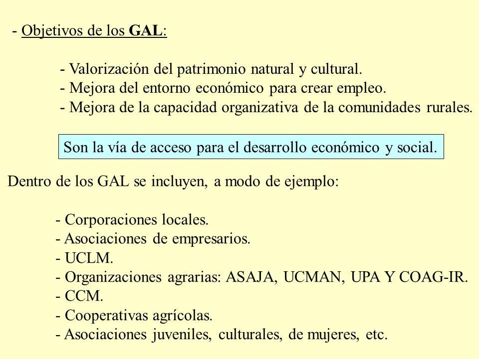 - Objetivos de los GAL: - Valorización del patrimonio natural y cultural. - Mejora del entorno económico para crear empleo.