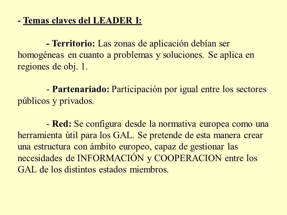 - Temas claves del LEADER I: