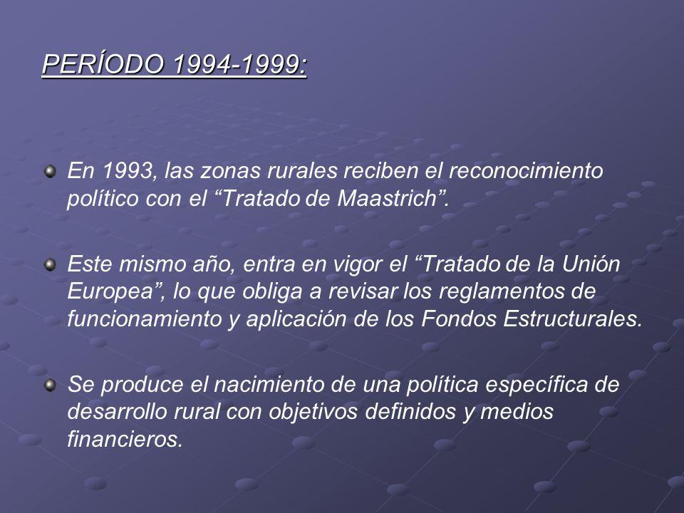 PERÍODO 1994-1999: En 1993, las zonas rurales reciben el reconocimiento político con el Tratado de Maastrich .