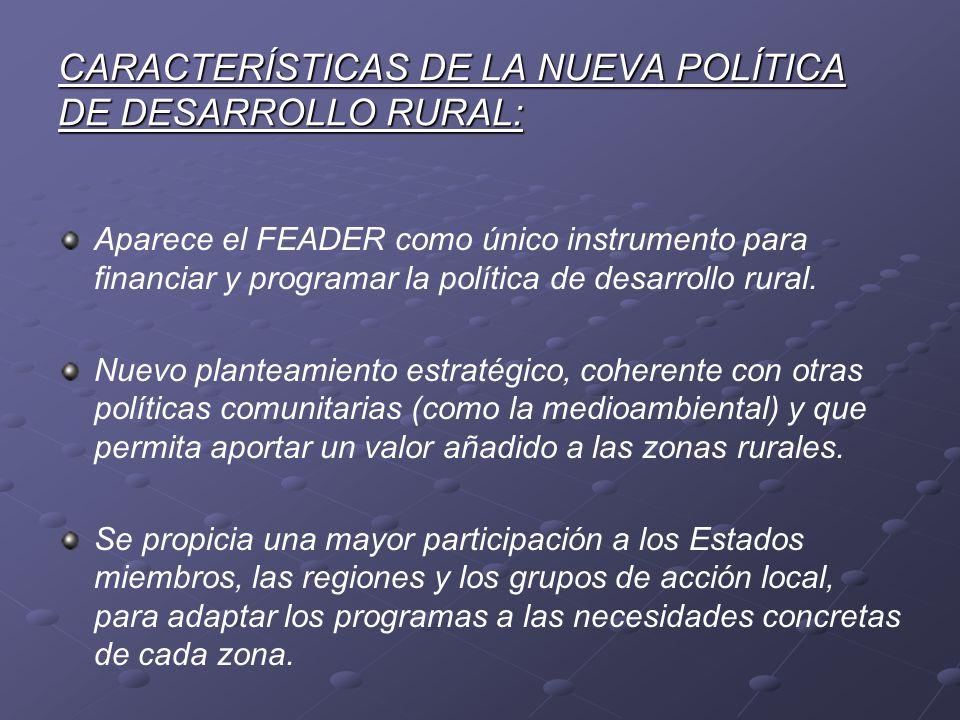 CARACTERÍSTICAS DE LA NUEVA POLÍTICA DE DESARROLLO RURAL: