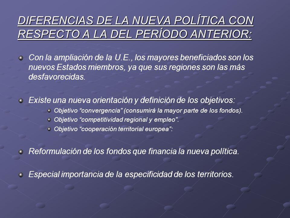 DIFERENCIAS DE LA NUEVA POLÍTICA CON RESPECTO A LA DEL PERÍODO ANTERIOR: