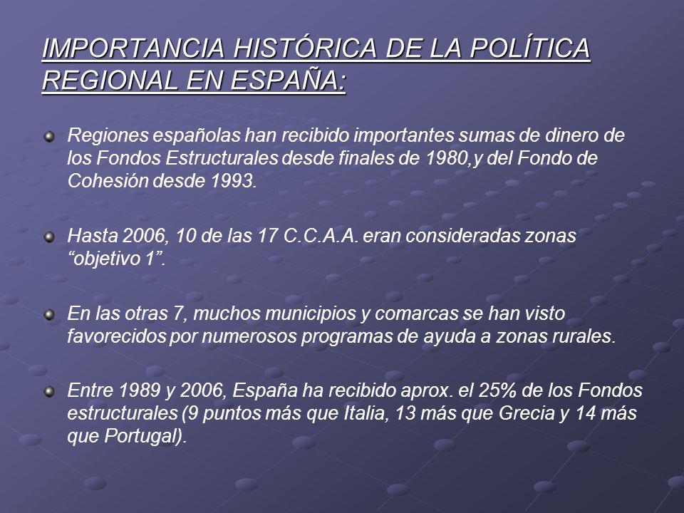 IMPORTANCIA HISTÓRICA DE LA POLÍTICA REGIONAL EN ESPAÑA: