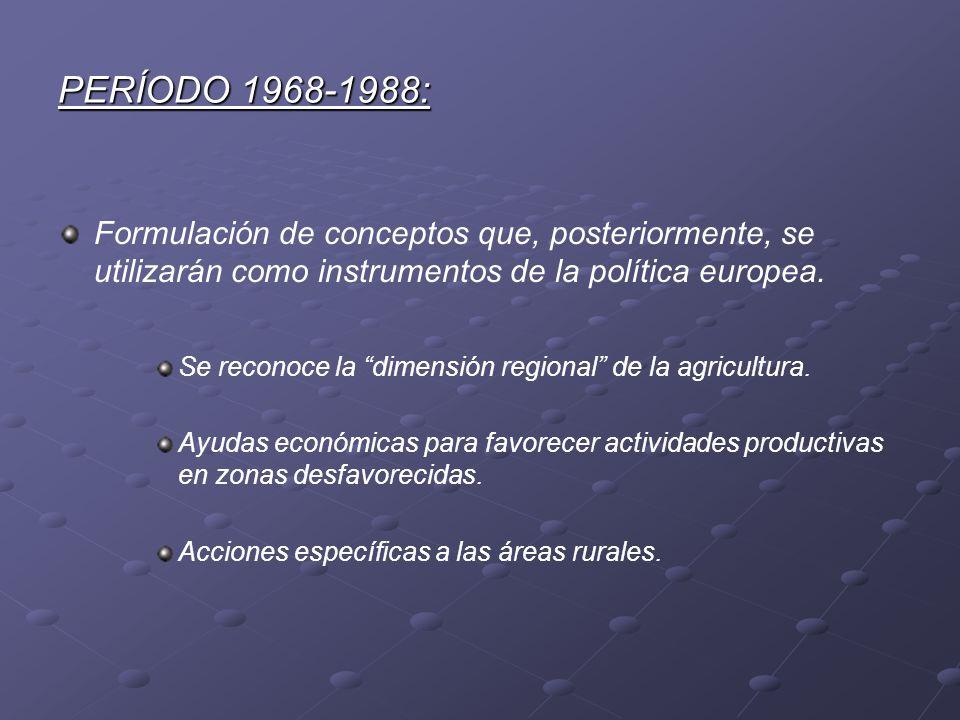 PERÍODO 1968-1988: Formulación de conceptos que, posteriormente, se utilizarán como instrumentos de la política europea.