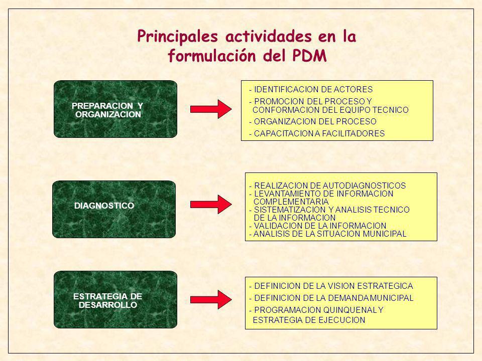 Principales actividades en la formulación del PDM