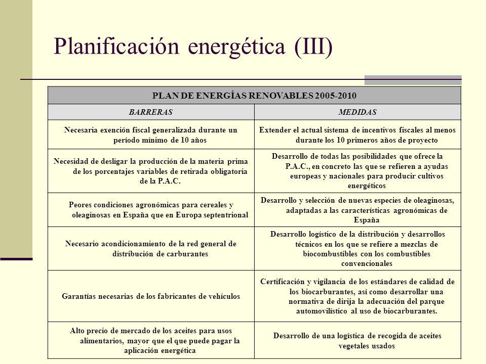 Planificación energética (III)